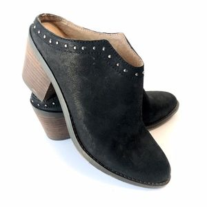 Lucky Brand Mabri Booties Black Leather Slide on